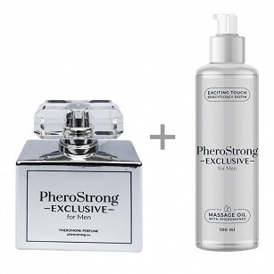 PROMOCJA -25% - PheroStrong Exclusive for Men - Perfum 50ml + Massage Oil 100ml