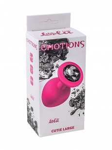 Anal Plug Emotions Cutie Large Pink Black crystal