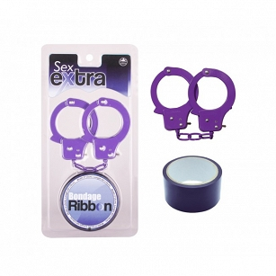 Purple Sex Extra PVC Ribbon and Handcuffs
